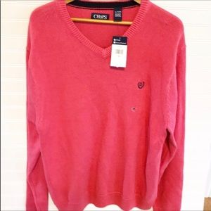 MENS XL CHAPS Pink V-Neck Pullover Sweater